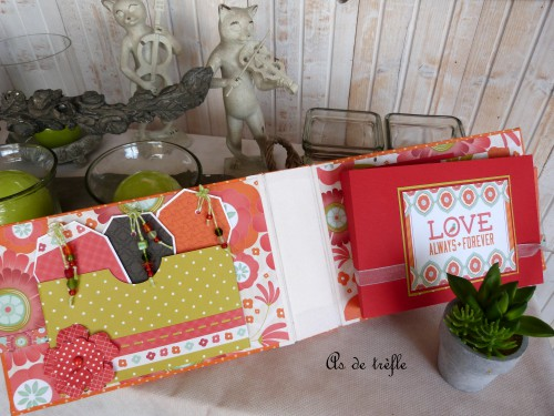 as de trèfle,annabel,kaisercraft,spring bloom collection,album scrap tissu,orange