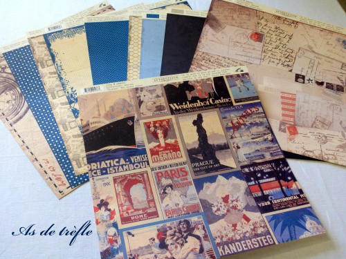 scrap,scrapbooking,papier,authentique,moustaches,retro,annabel,as de trèfle